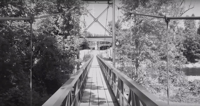 suspension walking bridge over saranac river in plattsburgh ny
