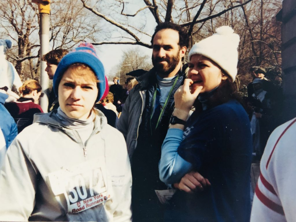 My First Road Race in Central Park with my two besties; I am wearing my New York Mets pom pom hat