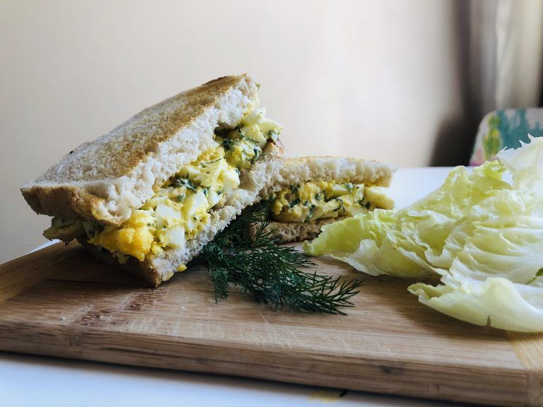 Egg Salad on Sourdough Bread with Dill and Iceberg Lettuce